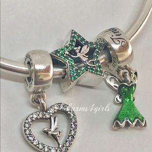 Authentic PANDORA Tinker Bell heart,dress & star
